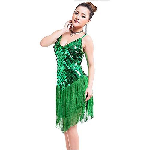 Green Kostüm Gypsy - Ljleey-CL Damen tanzen Rock Damen Samba Tango Latin Dance Kleid Ärmel Shiny Coin Pailletten Fransen Quasten Ballroom Dancewear Erwachsene Bühnen Performance Wettbewerb Tanz Kostüme