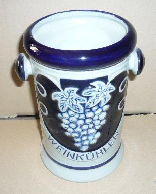 Weinkühler aus Keramik Dekor grau-blau Höhe: 21 cm
