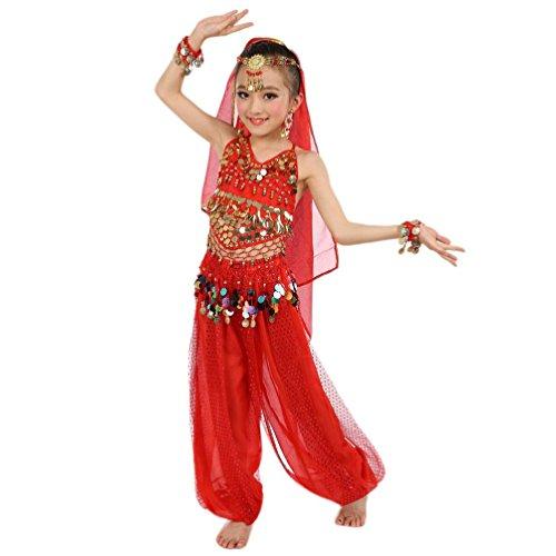 Yanhoo vestito per ragazze, costumi di danza del ventre per bambini vestiti a mano per bambini,abito bambina ragazz abiti senza maniche gonna tutu schienale vestito da principessa (s, rosso)