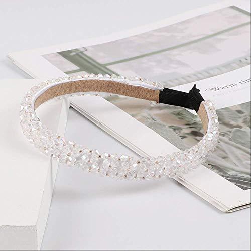 Pmli - cerchietto per capelli con strass luccicanti, accessorio per capelli, da donna, colore: bianco