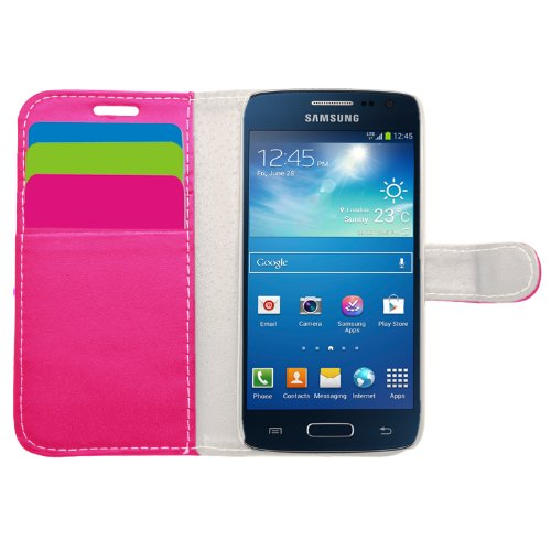 SAMRICK Exekutive Leder Buch Brief Tasche für Samsung Galaxy Xpress 2 mit Kreditkarte/Geschäftskarte Halter rosa -