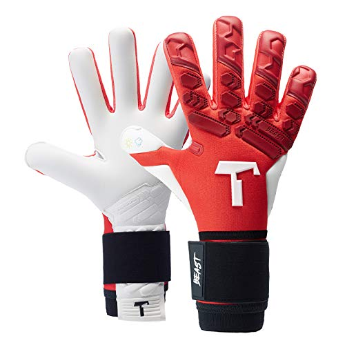 T1TAN Red Beast 2.0 Torwarthandschuhe mit Fingerschutz, Fußballhandschuhe Herren & Frauen - 4mm Profi Grip - Gr. 10