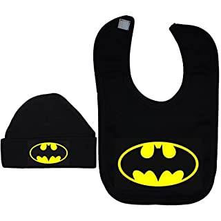 Acce Products Bat Baby Beanie Hat/Cap & Feeding Bib Batman Black - 6-12 Months - Black