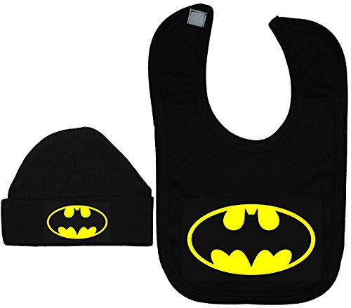 Bat Baby Beanie Hat/Cap & Feeding Bib Batman Black - 6 - 12 Months - Black