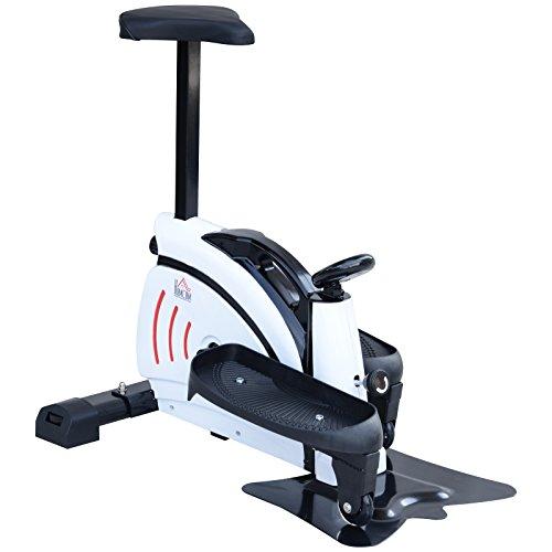HOMCOM Máquina de Step Stepper Resistencia Ajustable Mini Bicicleta Elíptica Pantalla LCD con Asiento Carga 110kg 74x49x77cm Acero