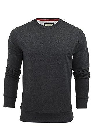Brave Soul Mens Jonesk Crew Neck Sweatshirt Jumper Dark Charcoal Marl -X-Large