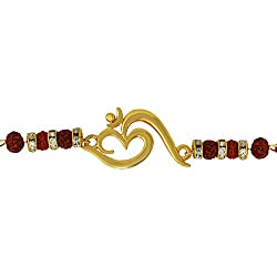 Mahi Red colored Gold OM with Crystals and Beads Gold Plated Rakhi (Raksha Sutra) BR1100546G