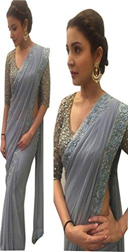 I-Brand Georgette Saree With Blouse Piece (Isunsa741-Mix_Grey_Free Size)