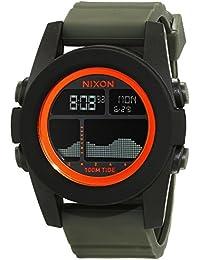 Nixon Unit Tide, Black / Surplus / Orange A2822050-00 - Reloj para hombres, correa de silicona color verde