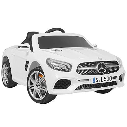 Uenjoy 12V Licensed Mercedes-Benz Kids Ride-On Car w/Remote Control 3 Speeds LED Lights & Spring Suspension & Safety Lock (SL500 White)
