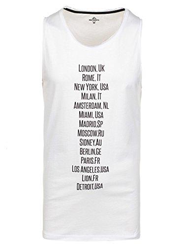 BOLF Herren Tanktop T-Shirt Ärmellos Rundhals Basic Slim Fit ATHLETIC 1124 3C3 Motiv Weiß
