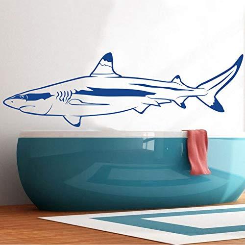 Jixiaosheng Sea Ocean Weißer Hai Wandaufkleber Bad Wasserdichte Vinyl Kinderzimmer WandTiere189 * 58 Cm