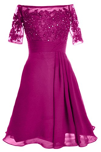 MACloth Women Off Shoulder Mother of Bride Dress with Sleeve Midi Cocktail Dress Fuchsia