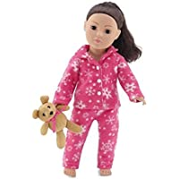 18 Inch Doll Clothes |Cozy Bright Pink and White Snowflake Print 2 Piece Classic Pajama Outfit with Teddy Bear | Fits American Girl Dolls by Emily Rose Doll Clothes