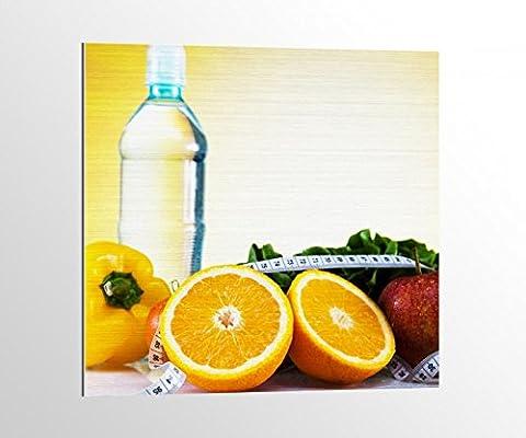 Alu-Dibond Apotheke Medizin Apfel Diät Obst Bild auf Aluminium AluDibond UV Druck gebürstet Wandbild Metall Effekt 16A1767, Alu-Dibond 1:100x100cm