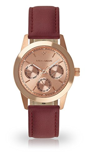 YVES CAMANI MADELAINE Women's Wrist Watch Quartz Analog Rosegold Stainless Steel Case Rosegold Dial (Leather - Red)