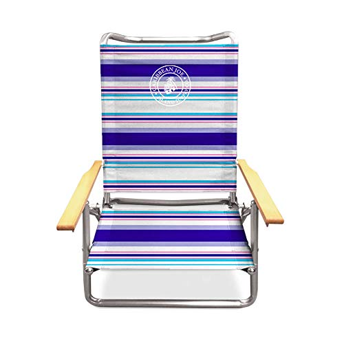 Caribbean Joe CJ-7740RWBST Five Position Folding Beach Chair with Wood arms Red, White, Blue Stripe (Arm Folding Chair)