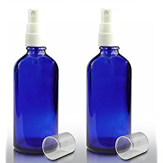 Set of 2 Bottles 100ml BLUE GLASS Bottle with WHITE ATOMISER Sprayer - Mist Sprayer - For Essential Oil - Aromatherapy Use - Room Cleaning
