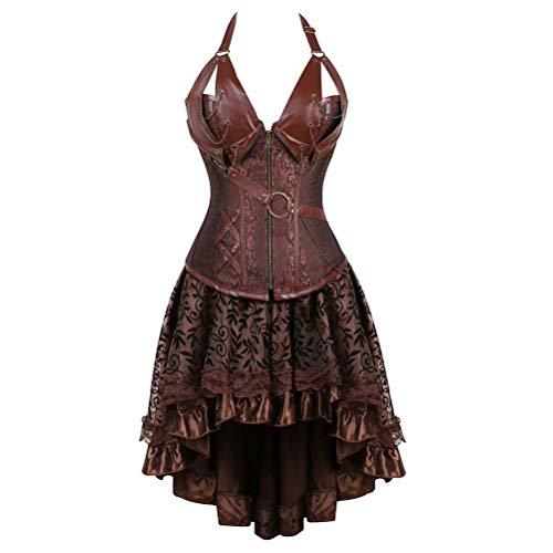 Corsagenkleid Steampunk Corsage Bustier Damen Piraten Leder Korsett Kleid Rock Gothic Dessous Übergrößen Halloween Burlesque Braun 6XL