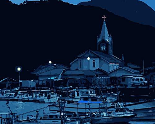 ZYCD Unterstützung Benutzerdefinierte Kirche im Hafen, der durch Zahlkunst-Segeltuchmalerei für Wohnzimmer Malt 40cmx50cm mit Rahmen (Kirche Weihnachten Spiele Für Erwachsene)