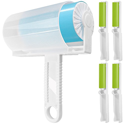 5 Pack Sticky Lint Roller with Cover, FineGood Reusable Washable Travel Dust Picker Cleaner Remover Brush Value Set for Clothes Pet Hair Debris – Blue, Green