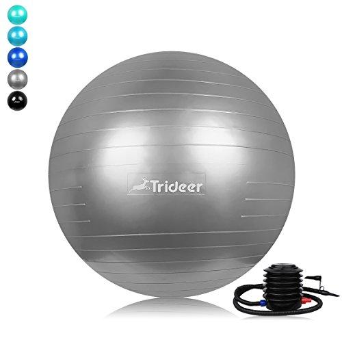 Trideer® Ballon Suisse de gym avec Pompe, 500KG Anti-Eclatement / Elles sont parfaites pour les Pilates, Yoga, le Crossfit et des centaines d'autres exercices/55cm&65cm&75cm,différentes couleurs Ballon de gymnastique. (Argent, 65cm)