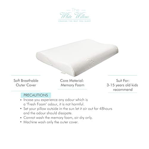The White Willow Memory Foam Junior Contour Shape Pillow For Neck Support With Removable Zip Cover --(18.5 x 10.5 x 2.9), White