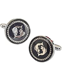 TiedRibbons® Royal Fish Black Cufflinks For Men | Cufflinks Gift | Cufflinks Set For Men | Cufflinks For Shirt...