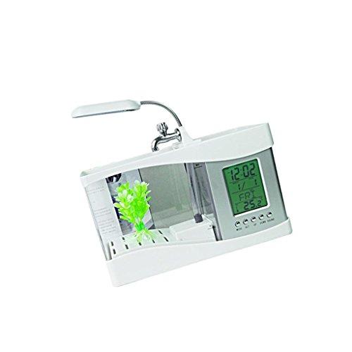 Fish Uhr Tank (Homyl Aquarium Terrarium Mini Aquarium Fischzucht Aufzucht Fish Tank LED Uhr DC 5V - Weiß)