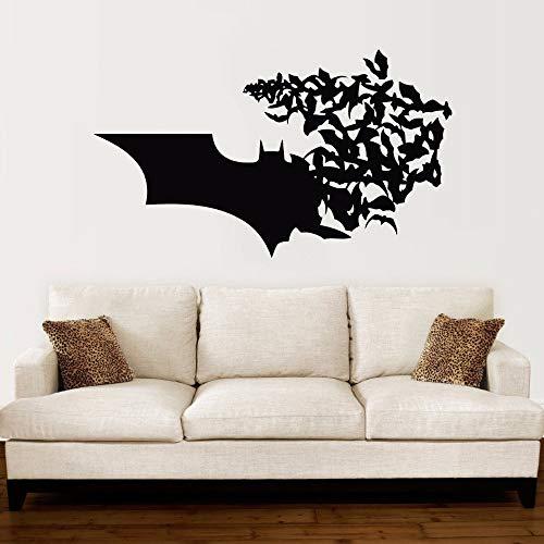 JXNY Batman Logo Wandtattoo Bat Comics Superhelden Wandaufkleber Wohnkultur Jungen Zimmer Batman Wandbild Vinyl Design Tapete 72x42 cm