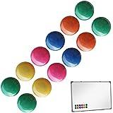 Jago - Set de 12 aimants colorés pour tableau magnétique