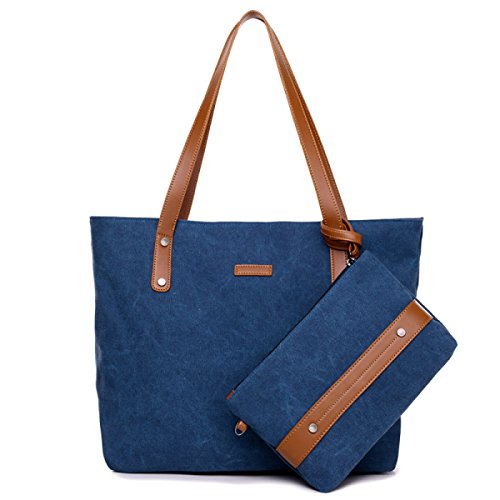Frauen-Segeltuch-Tote Natürliche Baumwollhandtasche Schulter-Beutel Weibliche Paket-Reihe Blue