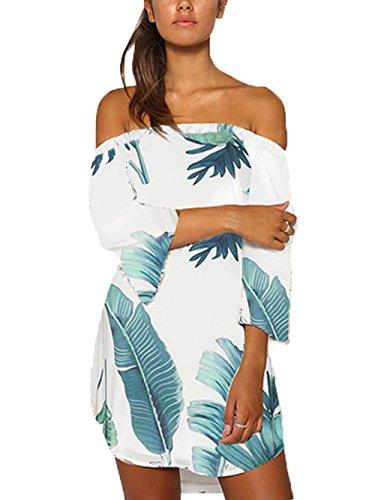 Yoins donna vestito senza spalle a maniche lunghe con spalline elegante abito da spiaggia corto abiti motivo estivo floreale sexy
