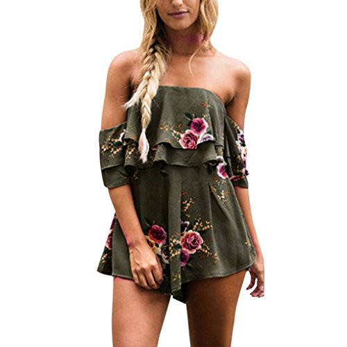 Janly® Bandeau Playsuit Jumpsuit Romper Flora Print Sleeveless Rompers Plus Size Short Women Casual Loose