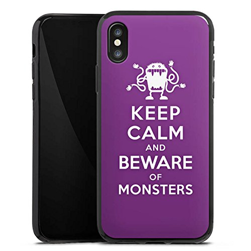 Apple iPhone X Silikon Hülle Case Schutzhülle Keep Calm Monster Spruch Silikon Case schwarz