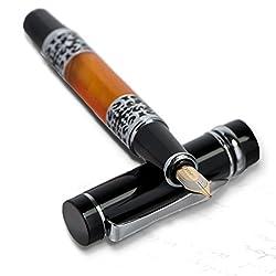 Füller Füllfederhalter von Monte Lovis Luxus Designer mit Konverter und Tintenpatrone und feiner Gold-Feder im Geschenk-Etui