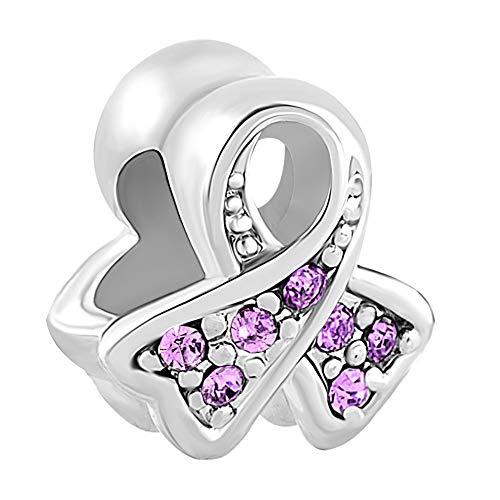 Poetic Charms Brustkrebs-Bewusstsein Ribbon Charm 925 Sterling Silber Jan-Dez Geburtsstein Perlen für Armband Halskette