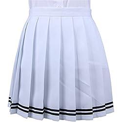 La vogue Mädchen Damen A-Linie Schule Uniform Rock Minirock, Weiß2, Maße1(S)