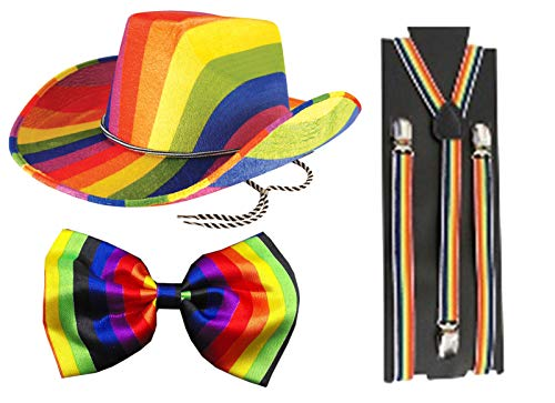 Labreeze Erwachsene Regenbogen-Kostüm, Cowboy-Hut, Fliege, Hosenträger, Gay Pride, Kostüm-Set (Gay Pride Kostüm)