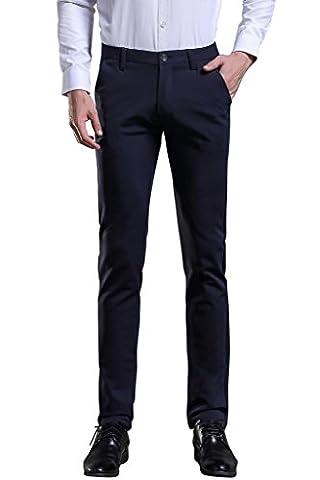 Herren Anzug Hose Slim fit Straight Leg Business Hose Pants von Harrms, Blau-Hfte geschnitten, 32(Tag