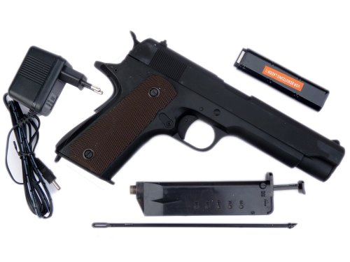 hochwertige elektrische Vollmetall AEG Softair-Pistole Colt Mod. 1911 Kaliber 6 mm BB max 0,5 Joule im Set mit Zubehör wie Akku, Ladegerät, Ladestab und Speedloader -