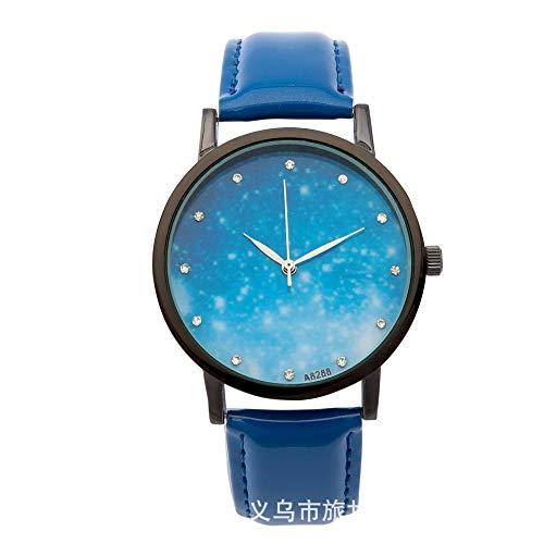 Mode Uhr Mode Konstellation Uhr riesigen Nachthimmel Gürtel Quarzuhr kleine frische Blaue Gürtel Schwarze Muschel