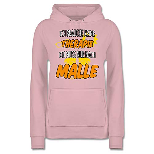 Shirtracer Urlaub - Ich Brauche Keine Therapie ich muss nur nach Malle - XXL - Hellrosa - JH001F - Damen Hoodie
