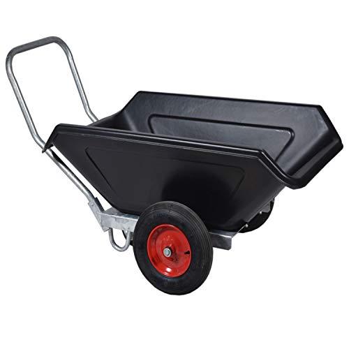 Roto L Schubkarre schwarz, Transportkarre, Mulden-Kipper, Zweiradkarre mit Gummireifen // 160x82x81 cm (LxBxH) // 250l Volumen Gartenkarre