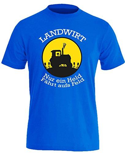 Landwirt - Nur ein Held fährt aufs Feld - Herren Rundhals T-Shirt Royal/Weiss-gelb