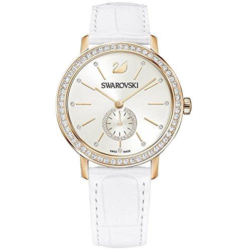 Swarovski Graceful Femme 37mm Bracelet Cuir Blanc Quartz Montre 5295386