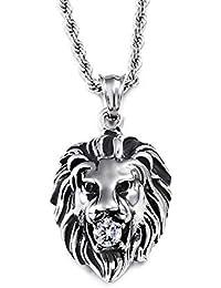 8bcf92110f6 Heyrock Tête de Lion Homme Pendentif Colliers Style punk en acier  inoxydable personnalité Bijoux Homme Cristal