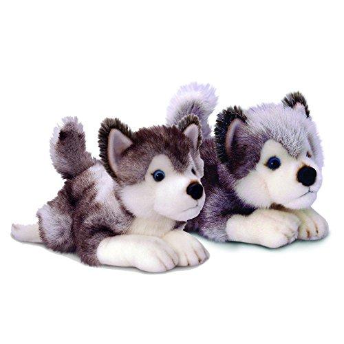 Keel Toys - Mom and Pup Bundle - (35cm Storm Husky + 25cm Storm Husky)