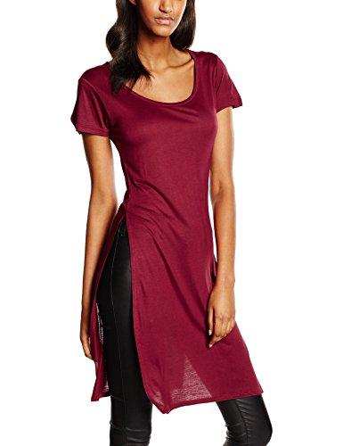 Urban Classics Ladies Side Slit Viscose Long Tee, T-Shirt Donna, Burgundy 606, Small