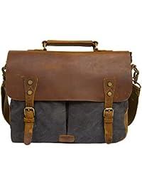 ECOSUSI Laptop Vintage Canvas Genuine Leather Messenger Bag